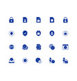 gdpr privacy policy icon set in glyph style 48x48 vector image