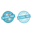 grunge stamp and silver label alcohol free vector image vector image
