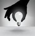 Hand Bulb Gray Background vector image vector image