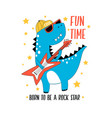hand drawn rock and roll elements and dinosaur vector image vector image