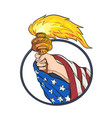 hand holding liberty torch drawing color vector image vector image