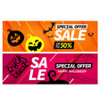 happy halloween sale special offer banners set vector image vector image