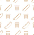 hot dog coffee hot paper cup outline seamless vector image vector image