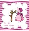 Little Girl Send Letter Card vector image vector image