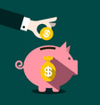 money pig design with coin in hand vector image vector image
