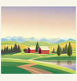mountain landscape with the houses and mountains vector image vector image