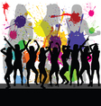 party with girl silhouette and color background vector image vector image