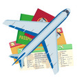 passport tickets documents and airplane set vector image vector image