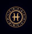 pisces luxury 12 zodiac wheel cycle vector image vector image