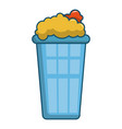 popcorn in a blue bucket icon cartoon style vector image