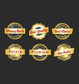 realistic golden labels sale badges set vector image