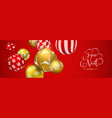 red christmas ball banner in french language vector image vector image