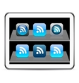 Rss blue app icons vector image vector image