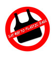 say no to plastic bags ban sign icon isolated on vector image vector image