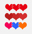set colorful pieces puzzle of romantic hearts vector image vector image