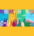 set summer tropical template backgrounds stories vector image vector image