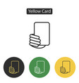 soccer referees hand with yellow card vector image