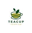 tea cup green leaf logo icon vector image vector image