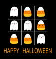 tic tac toe game with ghost spirit and candy corn vector image vector image