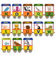 train alphabet with animals n to z vector image vector image