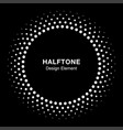 white halftone circle frame dots logo emblem vector image vector image