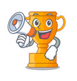 with megaphone character gold trophy award for vector image vector image
