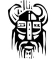 woodcut viking face vector image vector image