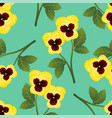 yellow pansy flower on green mint background vector image vector image