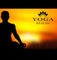 yoga meditation silhouette background vector image vector image