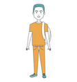 young man with school bag avatar character vector image