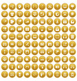 100 multimedia icons set gold vector image vector image