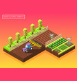agricultural robots isometric composition vector image vector image