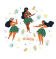 aloha hawaiian holidays poster with hula dancer vector image vector image