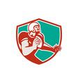 American Football Player Angry Shield Retro vector image vector image