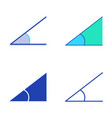angle icon set in flat and line style vector image