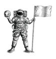 astronaut standing and holding flag and globe vector image vector image