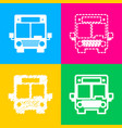 bus sign four styles of icon on four vector image vector image