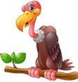 cartoon vulture on a tree branch vector image vector image