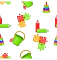 Childrens toys pattern cartoon style vector image vector image