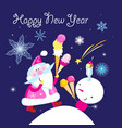 christmas bright card with santa claus and snowman vector image vector image