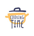cooking time hand drawn logo design vector image vector image