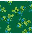 dark green floral texture with blue flowers vector image vector image