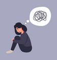 depression woman sit on the floor vector image vector image