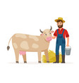 farmer with a cow and bucket with milk and hay vector image vector image