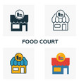 food court outline icon thin style design from vector image