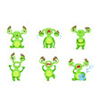 funny little monster with different emotions set vector image vector image
