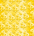 Gold dollar symbol in a seamless pattern vector image