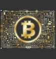 golden bitcoin digital currency background vector image vector image