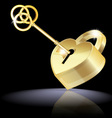 golden key and lock vector image vector image