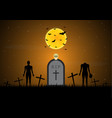 halloween gravestone graveyard skull zombie bat vector image vector image